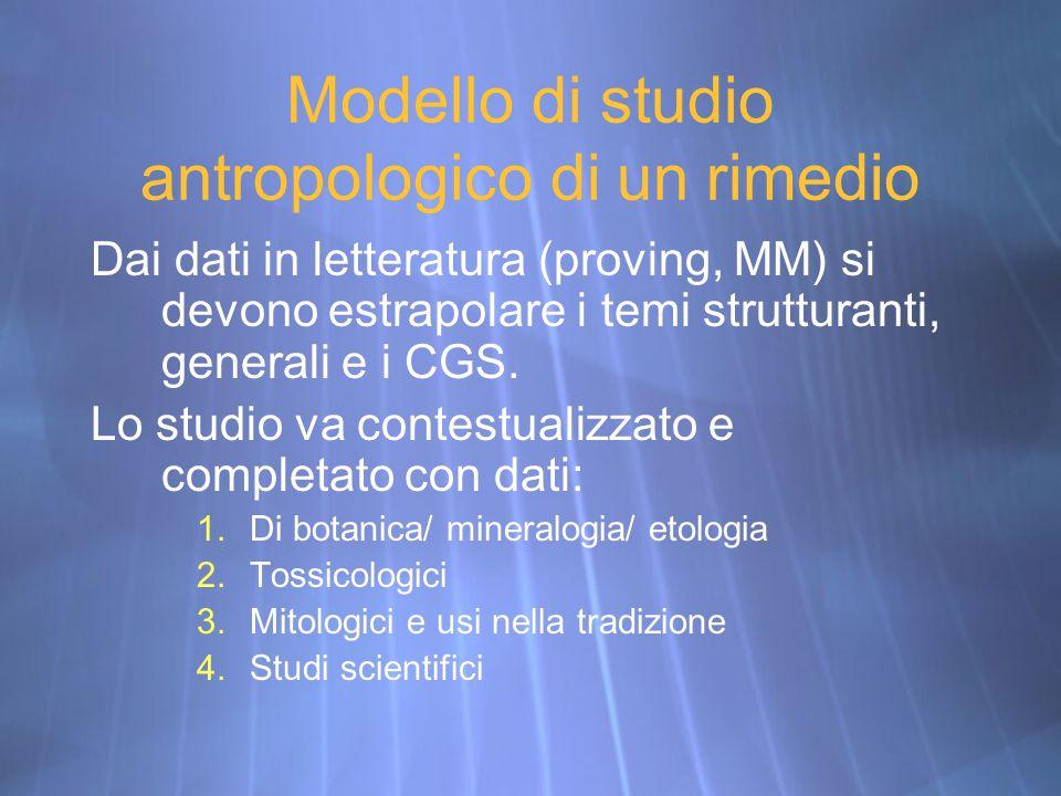 Modello di studio antropologico di un rimedio Dai dati in letteratura (proving, MM) si devono estrapolare i temi strutturanti, generali e i CGS. Lo st