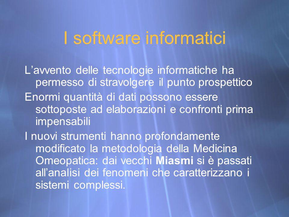 I software informatici L'avvento delle tecnologie informatiche ha permesso di stravolgere il punto prospettico Enormi quantità di dati possono essere