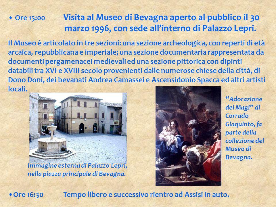 Ore 15:00 Visita al Museo di Bevagna aperto al pubblico il 30 marzo 1996, con sede all'interno di Palazzo Lepri. Il Museo è articolato in tre sezioni:
