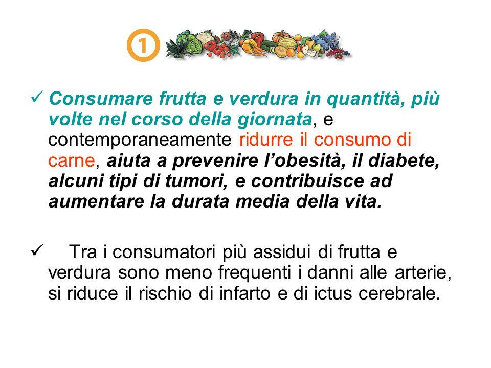 Consumare frutta e verdura in quantità, più volte nel corso della giornata, e contemporaneamente ridurre il consumo di carne, aiuta a prevenire l'obes