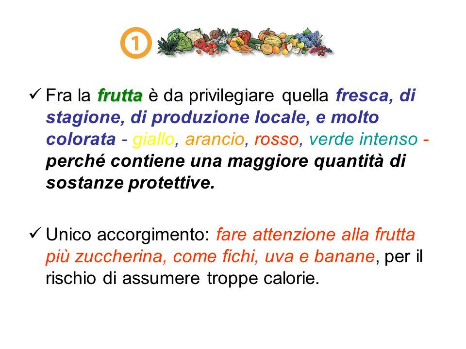 frutta Fra la frutta è da privilegiare quella fresca, di stagione, di produzione locale, e molto colorata - giallo, arancio, rosso, verde intenso - pe