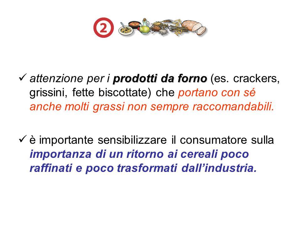 attenzione per i p pp prodotti da forno (es. crackers, grissini, fette biscottate) che portano con sé anche molti grassi non sempre raccomandabili. è