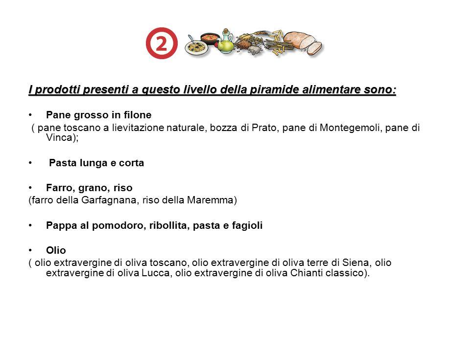 I prodotti presenti a questo livello della piramide alimentare sono: Pane grosso in filone ( pane toscano a lievitazione naturale, bozza di Prato, pan