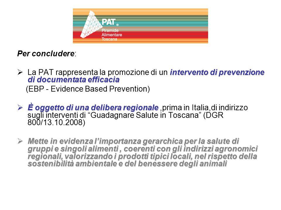 Per concludere: intervento di prevenzione di documentata efficacia  La PAT rappresenta la promozione di un intervento di prevenzione di documentata e