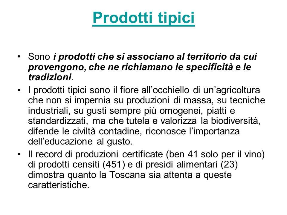 Prodotti tipici Sono i prodotti che si associano al territorio da cui provengono, che ne richiamano le specificità e le tradizioni. I prodotti tipici
