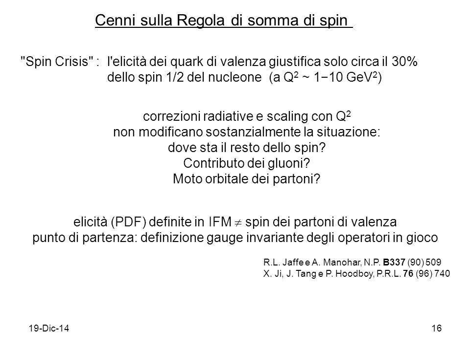 19-Dic-1416 Cenni sulla Regola di somma di spin elicità (PDF) definite in IFM  spin dei partoni di valenza punto di partenza: definizione gauge invariante degli operatori in gioco R.L.