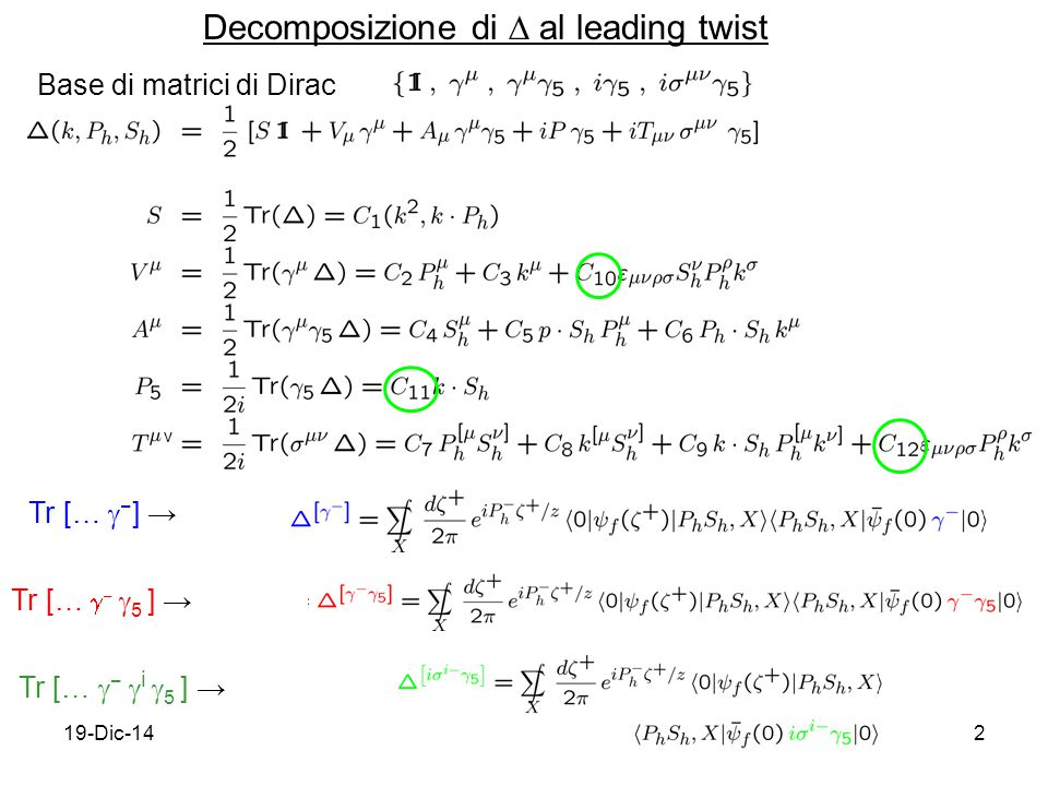 19-Dic-142 Decomposizione di  al leading twist Tr […  − ] → Tr […  −  5 ] → Tr […  −  i  5 ] → Base di matrici di Dirac ν