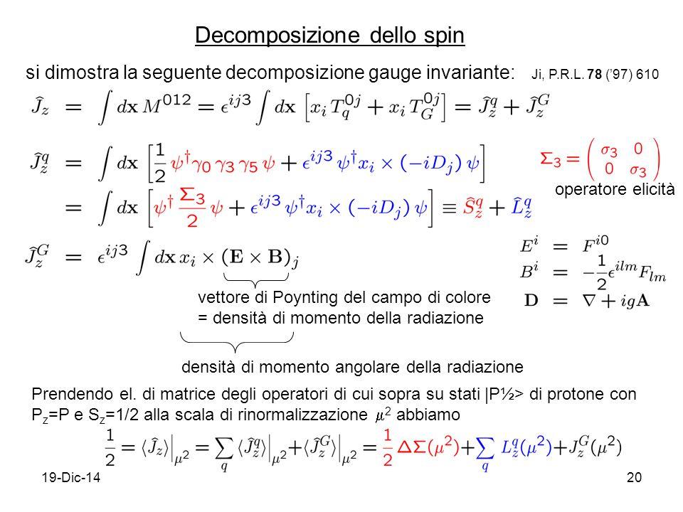 19-Dic-1420 Decomposizione dello spin Ji, P.R.L. 78 ('97) 610 si dimostra la seguente decomposizione gauge invariante: vettore di Poynting del campo d