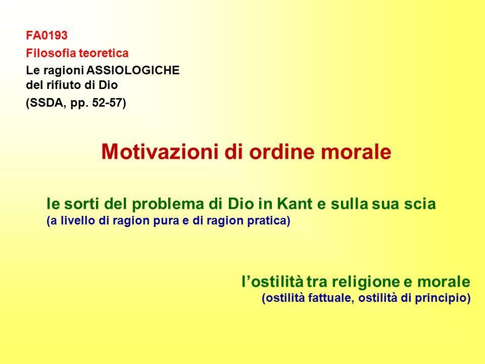 FA0193 Filosofia teoretica Le ragioni ASSIOLOGICHE del rifiuto di Dio (SSDA, pp.