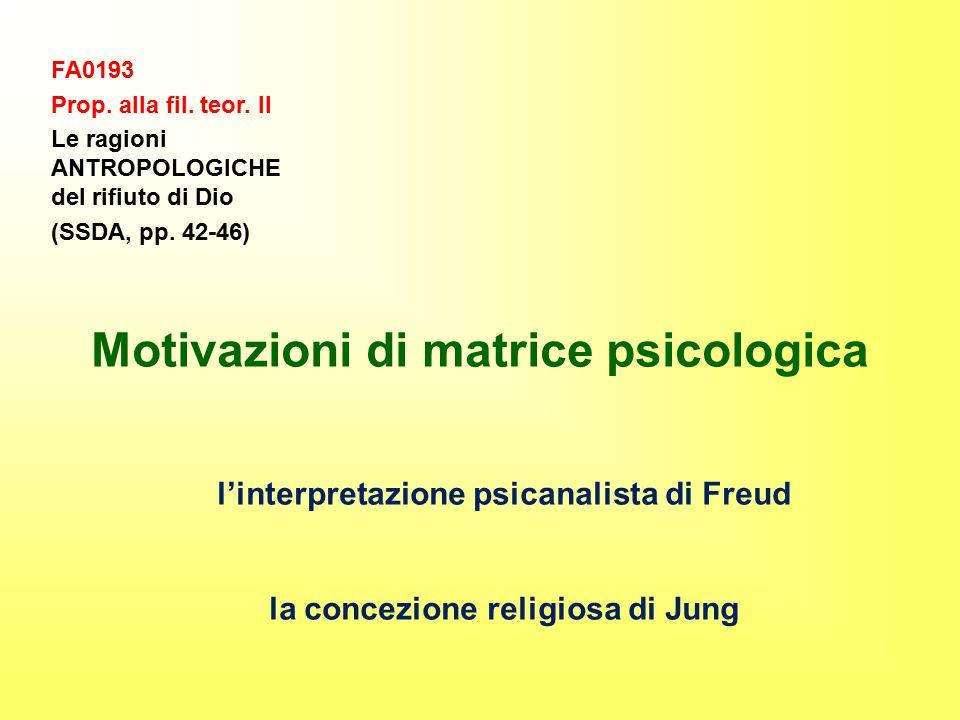 FA0193 Prop. alla fil. teor. II Le ragioni ANTROPOLOGICHE del rifiuto di Dio (SSDA, pp. 42-46) Motivazioni di matrice psicologica l'interpretazione ps