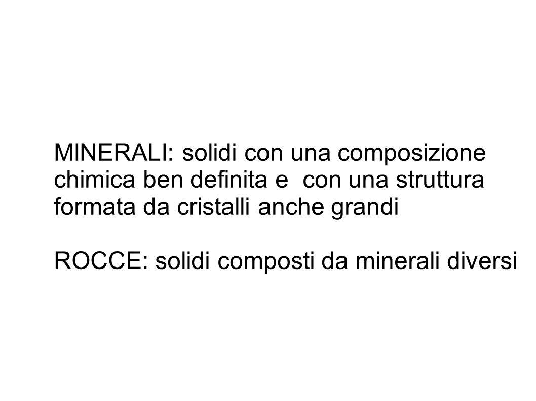 MINERALI: solidi con una composizione chimica ben definita e con una struttura formata da cristalli anche grandi ROCCE: solidi composti da minerali di