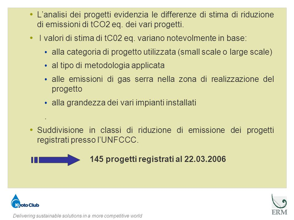 Delivering sustainable solutions in a more competitive world 145 progetti registrati al 22.03.2006 L'analisi dei progetti evidenzia le differenze di stima di riduzione di emissioni di tCO2 eq.
