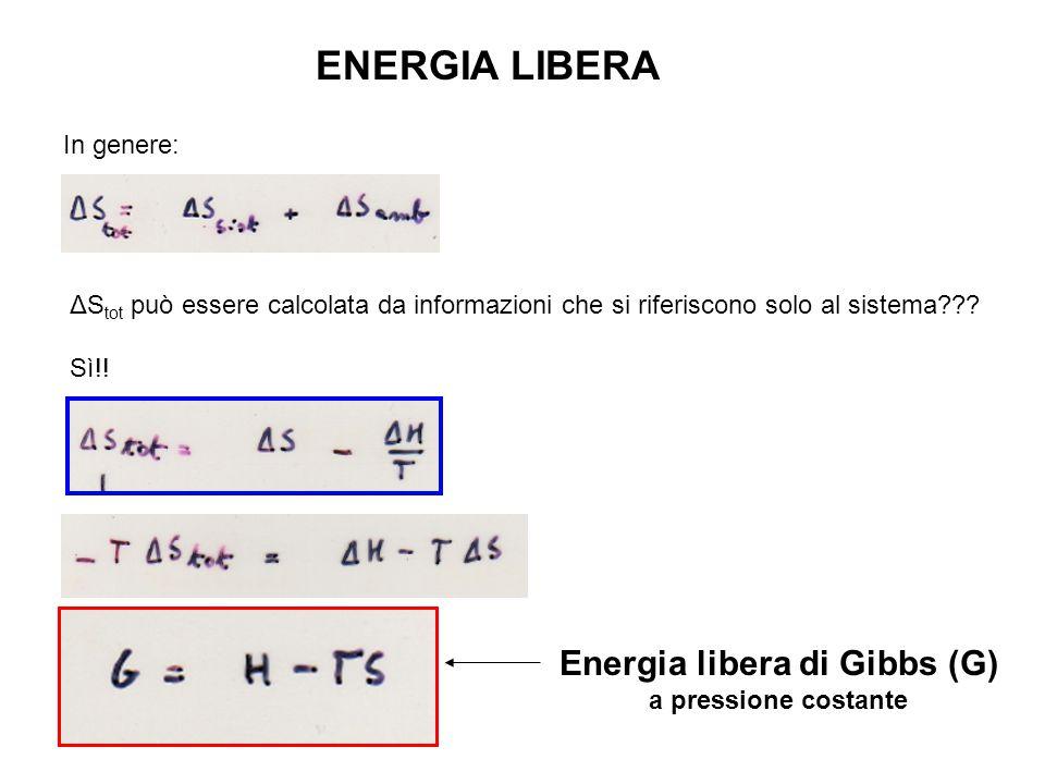 In un processo a T costante valutiamo il ΔG: Per analogia con: Sono spontanei i processi con ΔS(tot.) >0 e quindi esssendo la T assoluta sempre >0, i processi spontanei sono accompagnati da una diminuizione di energia libera (ΔG<0, NUOVO CRITERIO di SPONTANEITA') Per il chimico è molto più pratica la funzione energia libera perché è riferita interamente al sistema sotto osservazione e non all'ambiente.