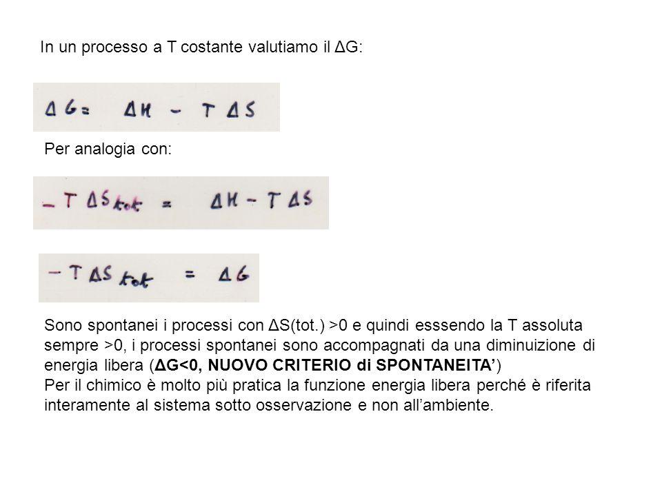 In un processo a T costante valutiamo il ΔG: Per analogia con: Sono spontanei i processi con ΔS(tot.) >0 e quindi esssendo la T assoluta sempre >0, i