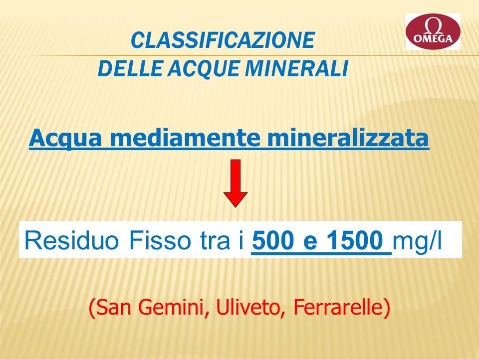 CLASSIFICAZIONE DELLE ACQUE MINERALI Acqua mediamente mineralizzata Residuo Fisso tra i 500 e 1500 mg/l (San Gemini, Uliveto, Ferrarelle)
