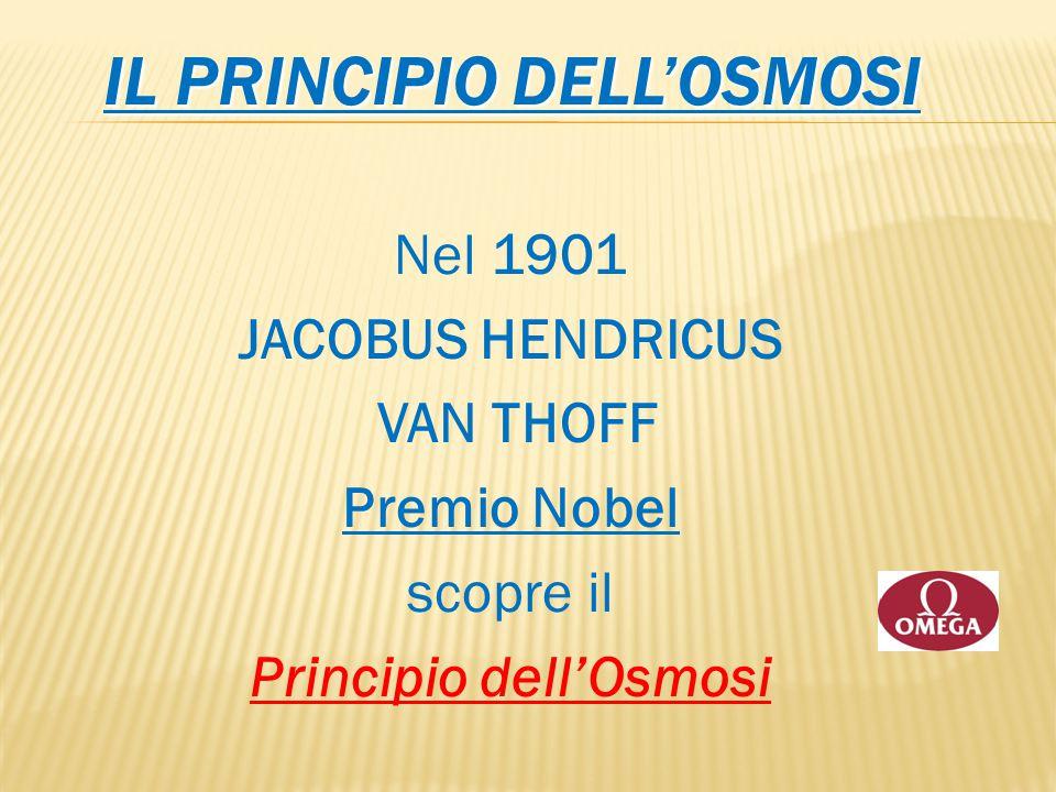 IL PRINCIPIO DELL'OSMOSI Nel 1901 JACOBUS HENDRICUS VAN THOFF Premio Nobel scopre il Principio dell'Osmosi