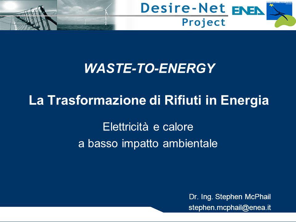 WASTE-TO-ENERGY La Trasformazione di Rifiuti in Energia Elettricità e calore a basso impatto ambientale Dr.