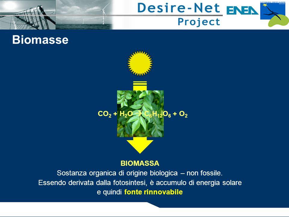 BIOMASSA Sostanza organica di origine biologica – non fossile.