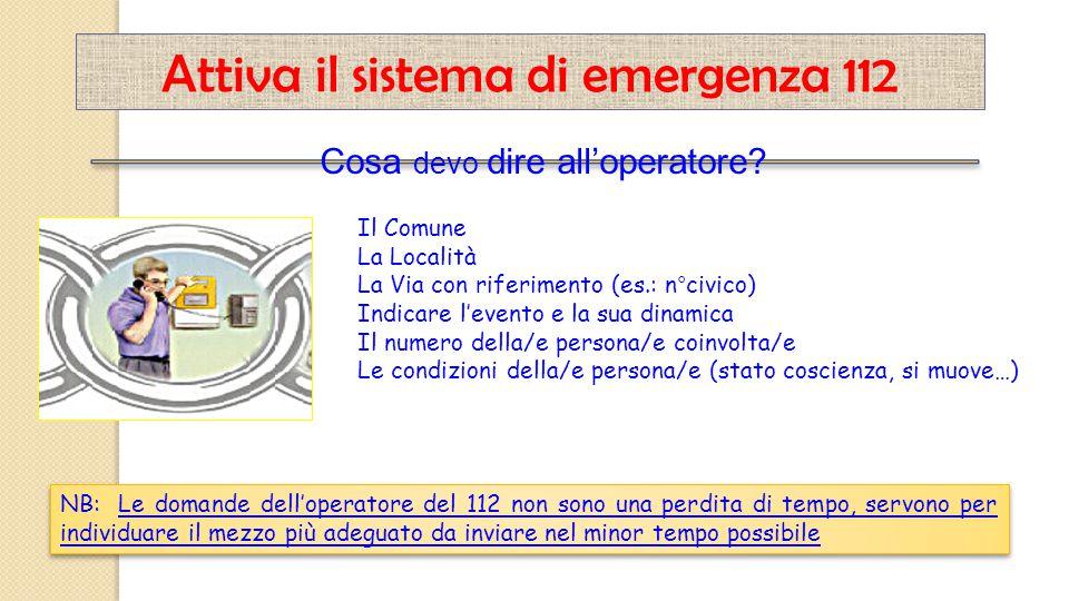 Il Comune La Località La Via con riferimento (es.: n°civico) Indicare l'evento e la sua dinamica Il numero della/e persona/e coinvolta/e Le condizioni