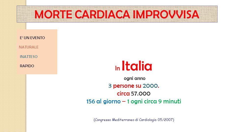 E' UN EVENTO NATURALE INATTESO RAPIDO In Italia ogni anno 3 persone su 2000. circa 57.000 156 al giorno – 1 ogni circa 9 minuti (Congresso Mediterrane