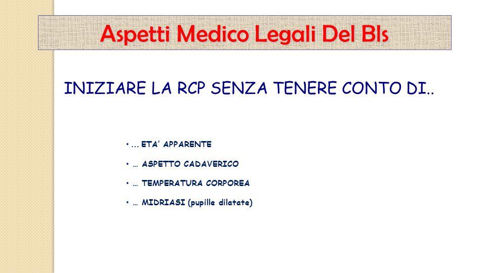 Aspetti Medico Legali Del Bls … ETA' APPARENTE … ASPETTO CADAVERICO … TEMPERATURA CORPOREA … MIDRIASI (pupille dilatate) INIZIARE LA RCP SENZA TENERE