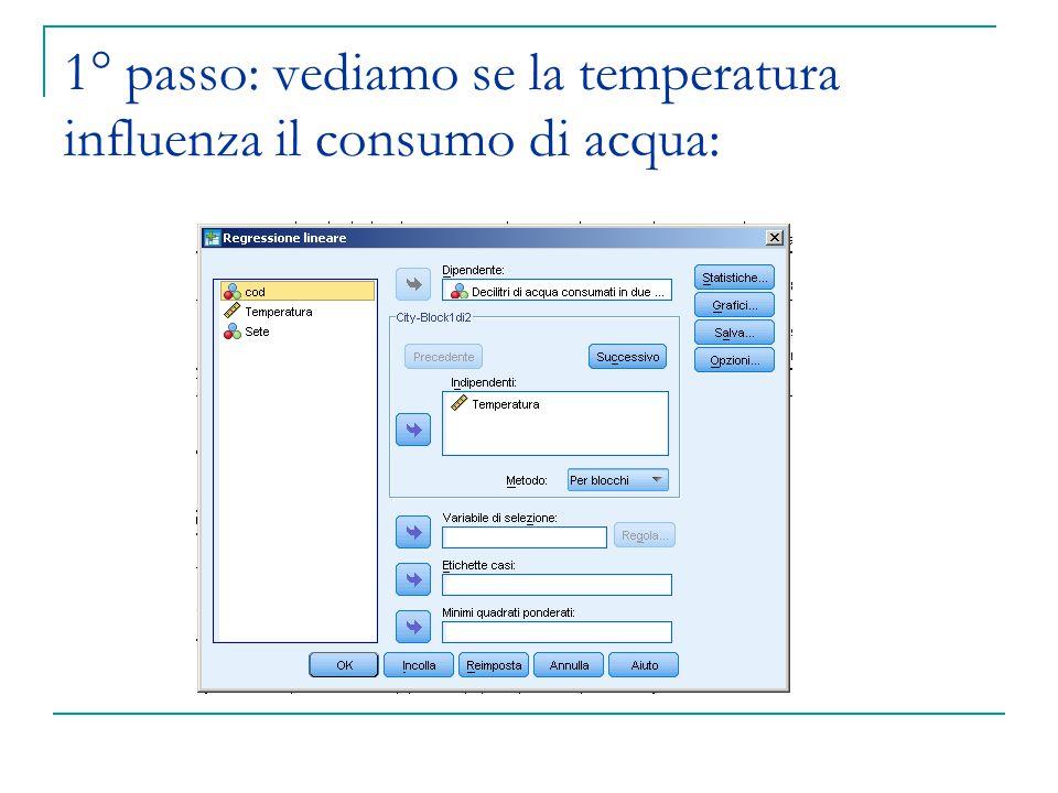 1° passo: vediamo se la temperatura influenza il consumo di acqua: