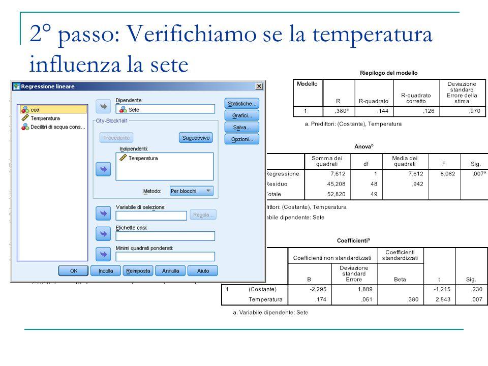 2° passo: Verifichiamo se la temperatura influenza la sete