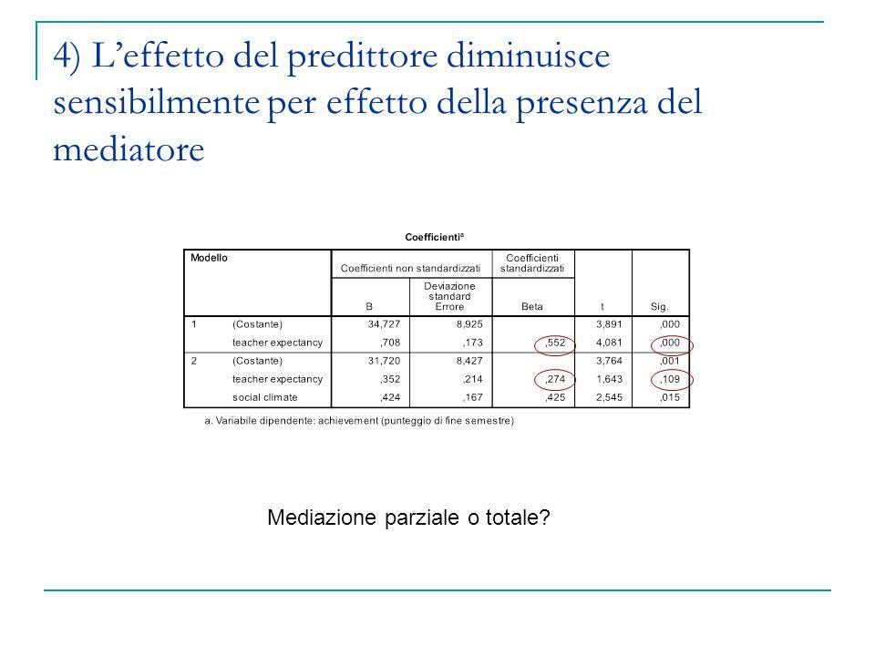 4) L'effetto del predittore diminuisce sensibilmente per effetto della presenza del mediatore Mediazione parziale o totale?