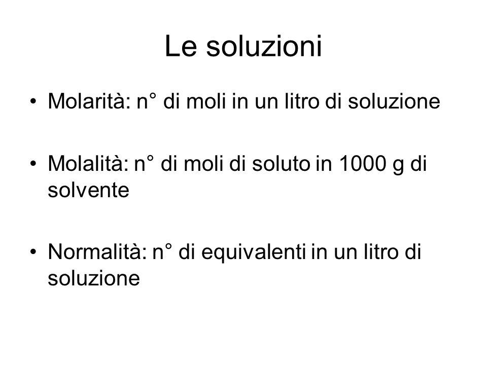 Le soluzioni Molarità: n° di moli in un litro di soluzione Molalità: n° di moli di soluto in 1000 g di solvente Normalità: n° di equivalenti in un litro di soluzione