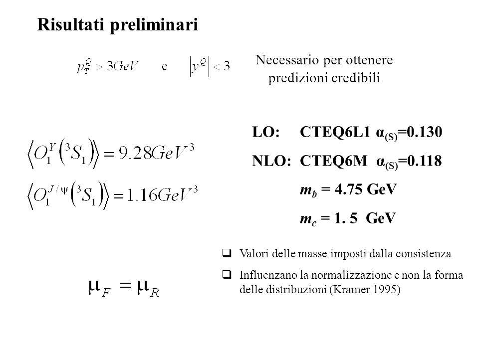 LO:CTEQ6L1 α (S) =0.130 NLO:CTEQ6M α (S) =0.118 m b = 4.75 GeV m c = 1.