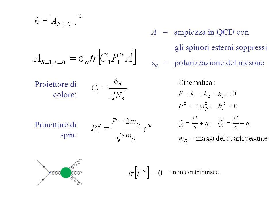 A = ampiezza in QCD con gli spinori esterni soppressi ε α = polarizzazione del mesone Proiettore di colore: Proiettore di spin: : non contribuisce