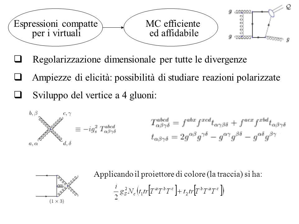 Espressioni compatte MC efficiente  Regolarizzazione dimensionale per tutte le divergenze  Ampiezze di elicità: possibilità di studiare reazioni polarizzate  Sviluppo del vertice a 4 gluoni: ed affidabile Applicando il proiettore di colore (la traccia) si ha: per i virtuali