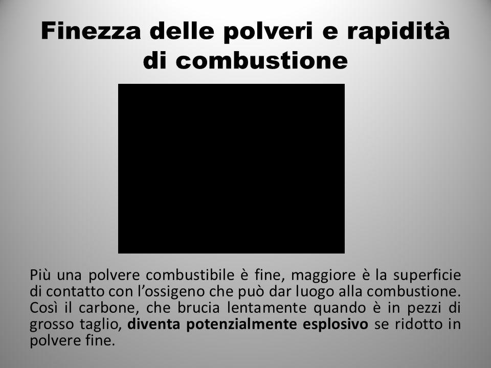 Finezza delle polveri e rapidità di combustione Più una polvere combustibile è fine, maggiore è la superficie di contatto con l'ossigeno che può dar luogo alla combustione.