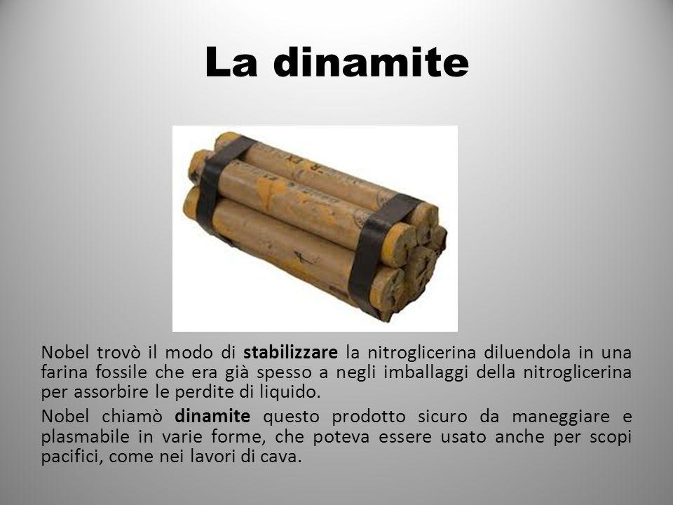 La dinamite Nobel trovò il modo di stabilizzare la nitroglicerina diluendola in una farina fossile che era già spesso a negli imballaggi della nitroglicerina per assorbire le perdite di liquido.