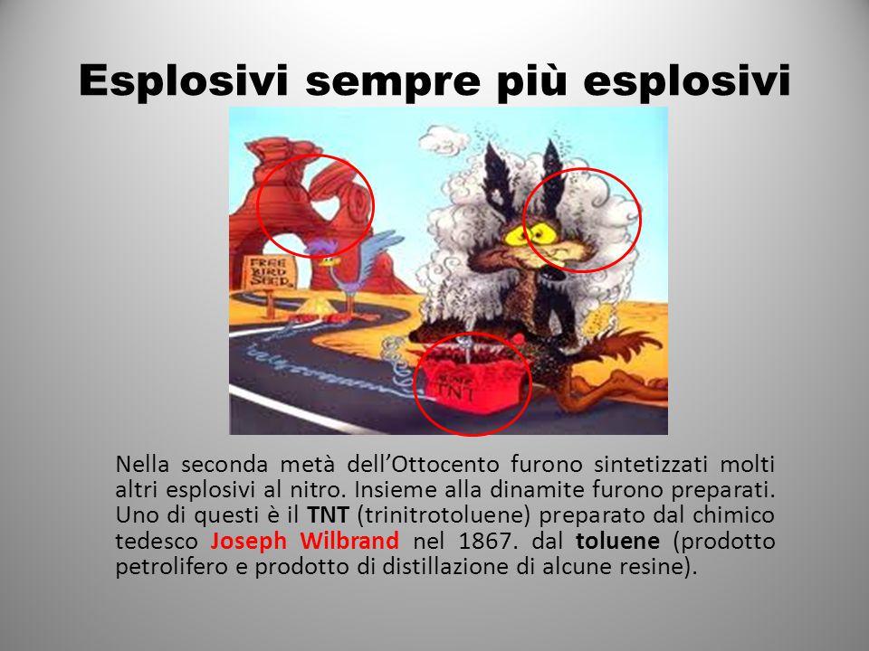 Esplosivi sempre più esplosivi Nella seconda metà dell'Ottocento furono sintetizzati molti altri esplosivi al nitro.