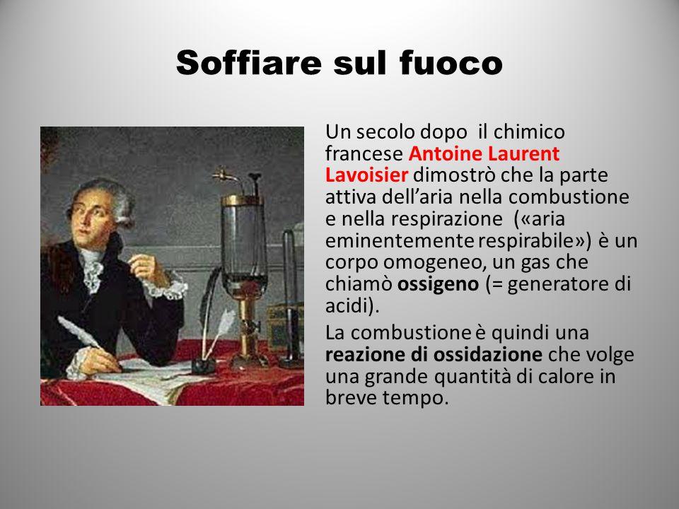 Soffiare sul fuoco Un secolo dopo il chimico francese Antoine Laurent Lavoisier dimostrò che la parte attiva dell'aria nella combustione e nella respirazione («aria eminentemente respirabile») è un corpo omogeneo, un gas che chiamò ossigeno (= generatore di acidi).