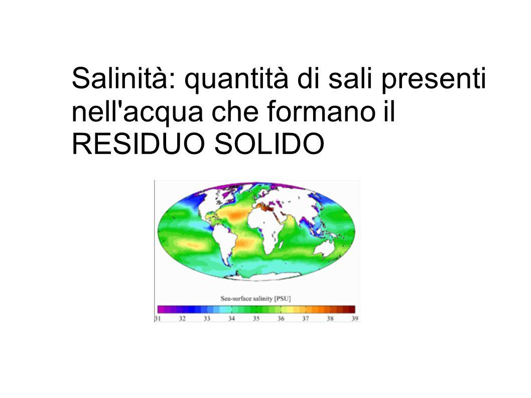 Salinità: quantità di sali presenti nell'acqua che formano il RESIDUO SOLIDO