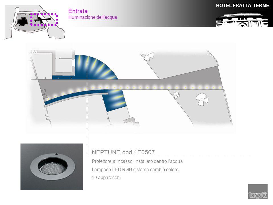 HOTEL FRATTA TERME Entrata Illuminazione dell'acqua NEPTUNE cod.1E0507 Proiettore a incasso, installato dentro l'acqua Lampada LED RGB sistema cambia