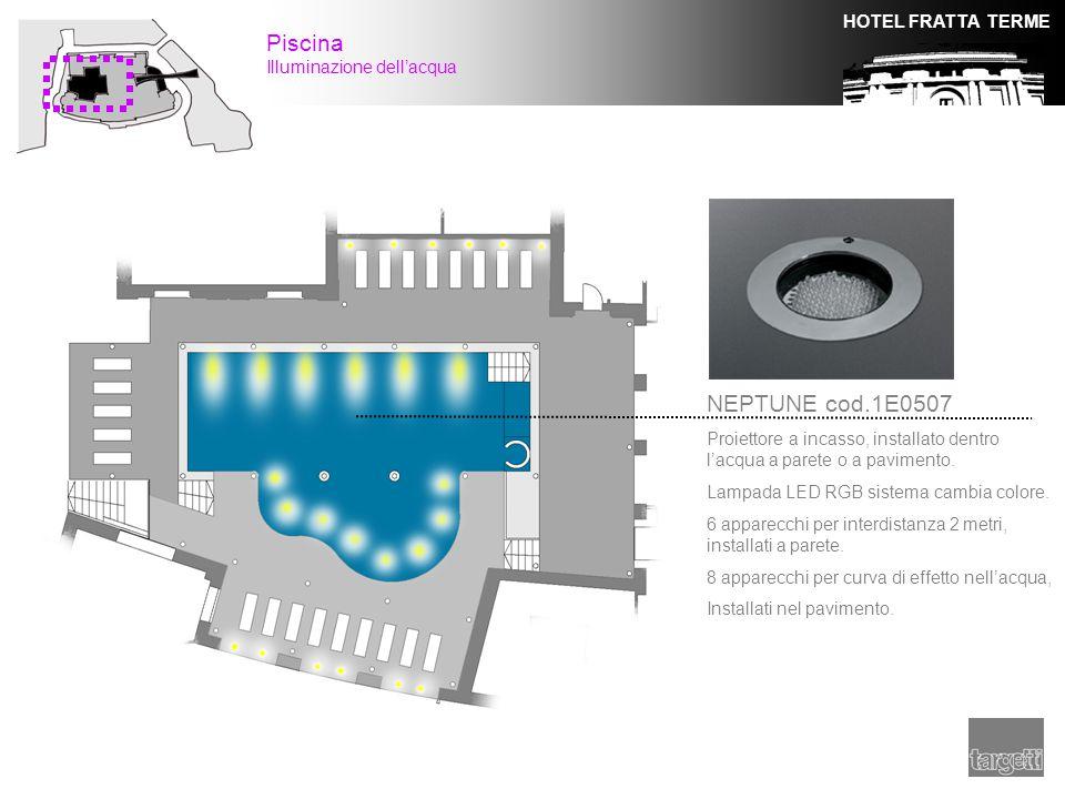 HOTEL FRATTA TERME Piscina Illuminazione dell'acqua NEPTUNE cod.1E0507 Proiettore a incasso, installato dentro l'acqua a parete o a pavimento. Lampada