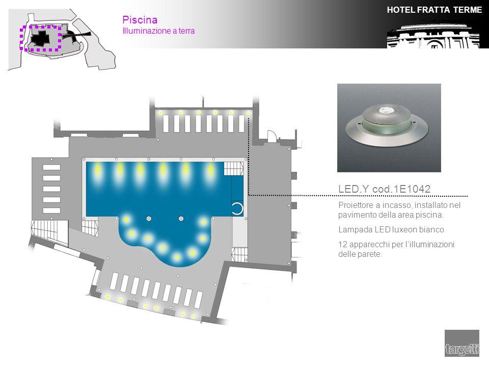HOTEL FRATTA TERME Piscina Illuminazione a terra LED.Y cod.1E1042 Proiettore a incasso, installato nel pavimento della area piscina. Lampada LED luxeo