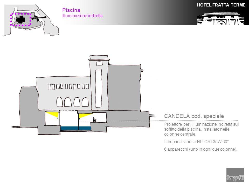 HOTEL FRATTA TERME CANDELA cod. speciale Proiettore per l'illuminazione indiretta sul soffitto della piscina, installato nelle colonne centrale. Lampa