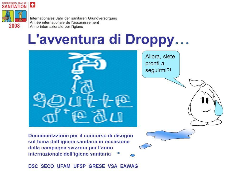 L avventura di Droppy Documentazione per il concorso di disegno sul tema dell'igiene sanitaria in occasione della campagna svizzera per l'anno internazionale dell'igiene sanitaria DSC SECO UFAM UFSP GRESE VSA EAWAG Allora, siete pronti a seguirmi?!