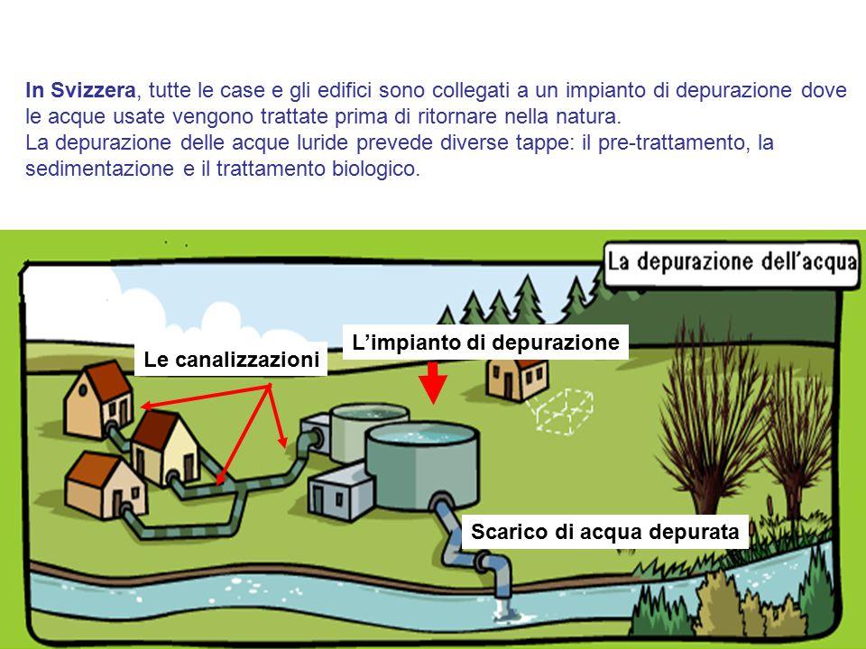 4 Le canalizzazioni Scarico di acqua depurata In Svizzera, tutte le case e gli edifici sono collegati a un impianto di depurazione dove le acque usate vengono trattate prima di ritornare nella natura.