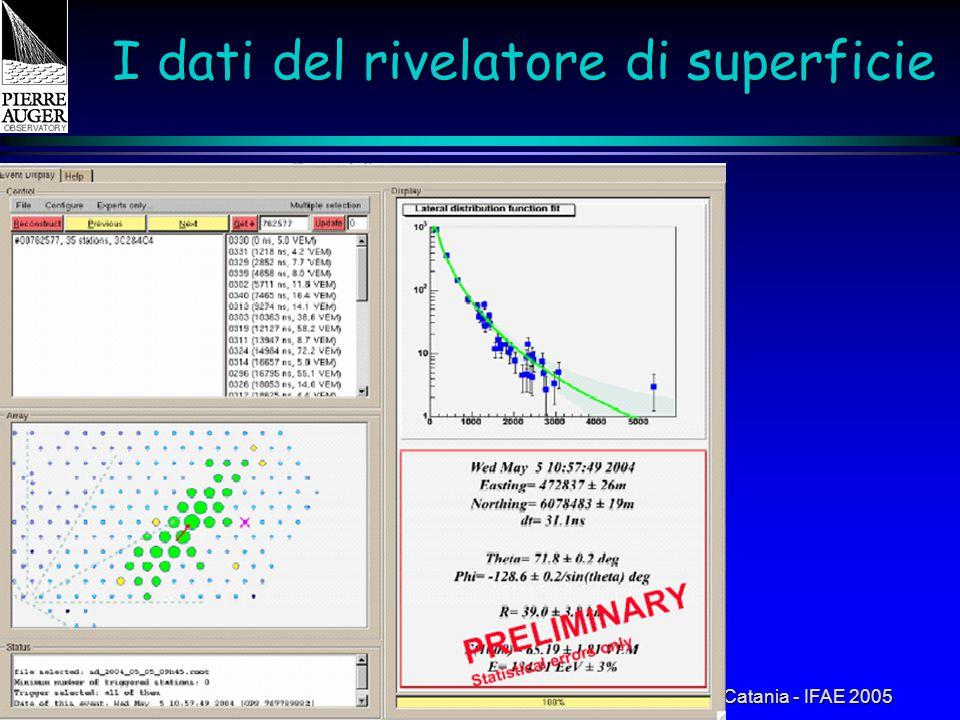 Catania - IFAE 2005 I dati del rivelatore di superficie