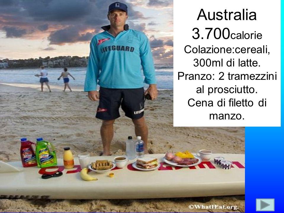 Australia 3.700 calorie Colazione:cereali, 300ml di latte. Pranzo: 2 tramezzini al prosciutto. Cena di filetto di manzo.