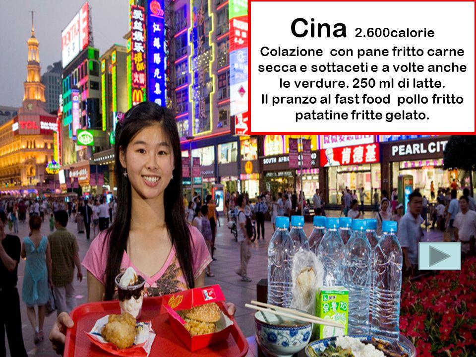 Cina 2.600calorie Colazione con pane fritto carne secca e sottaceti e a volte anche le verdure. 250 ml di latte. Il pranzo al fast food pollo fritto p