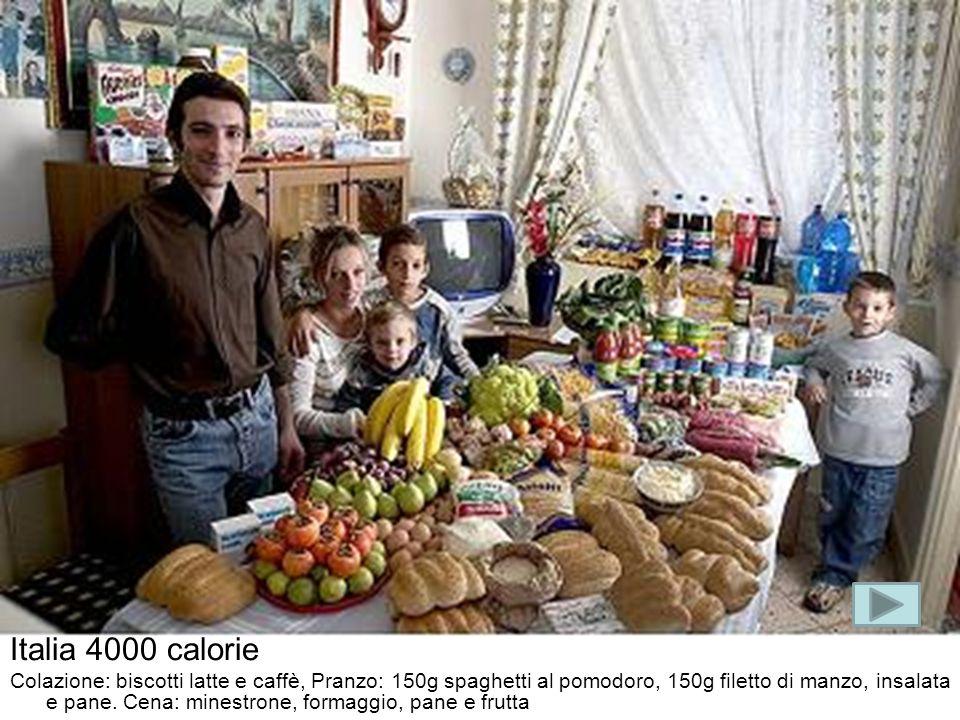 Italia 4000 calorie Colazione: biscotti latte e caffè, Pranzo: 150g spaghetti al pomodoro, 150g filetto di manzo, insalata e pane. Cena: minestrone, f