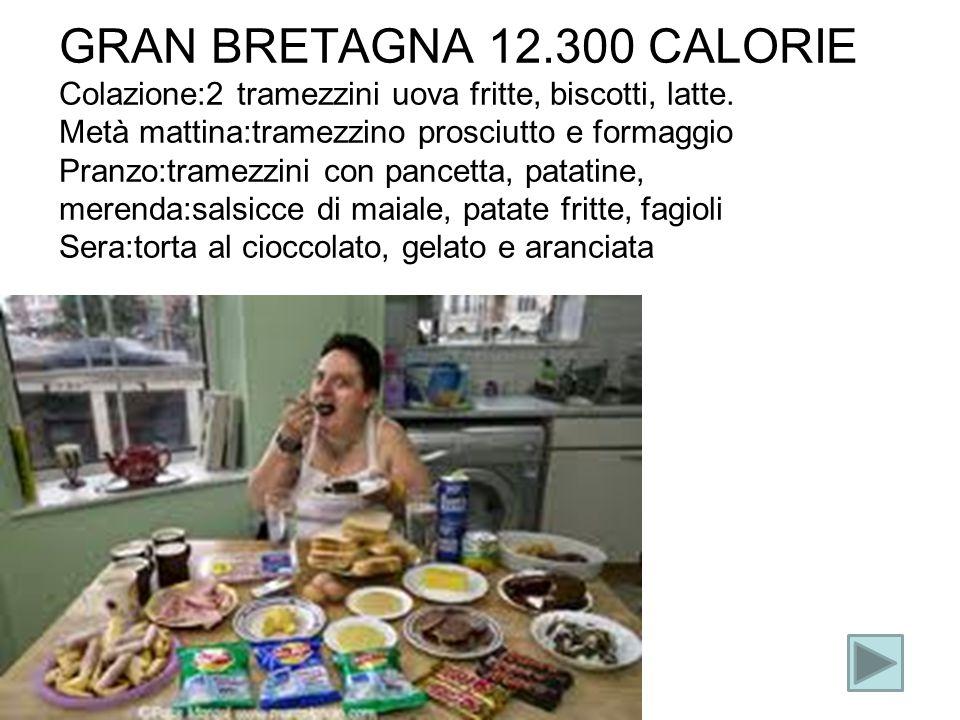 GRAN BRETAGNA 12.300 CALORIE Colazione:2 tramezzini uova fritte, biscotti, latte. Metà mattina:tramezzino prosciutto e formaggio Pranzo:tramezzini con