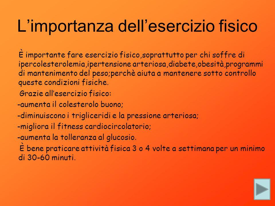È importante fare esercizio fisico,soprattutto per chi soffre di ipercolesterolemia,ipertensione arteriosa,diabete,obesità,programmi di mantenimento d