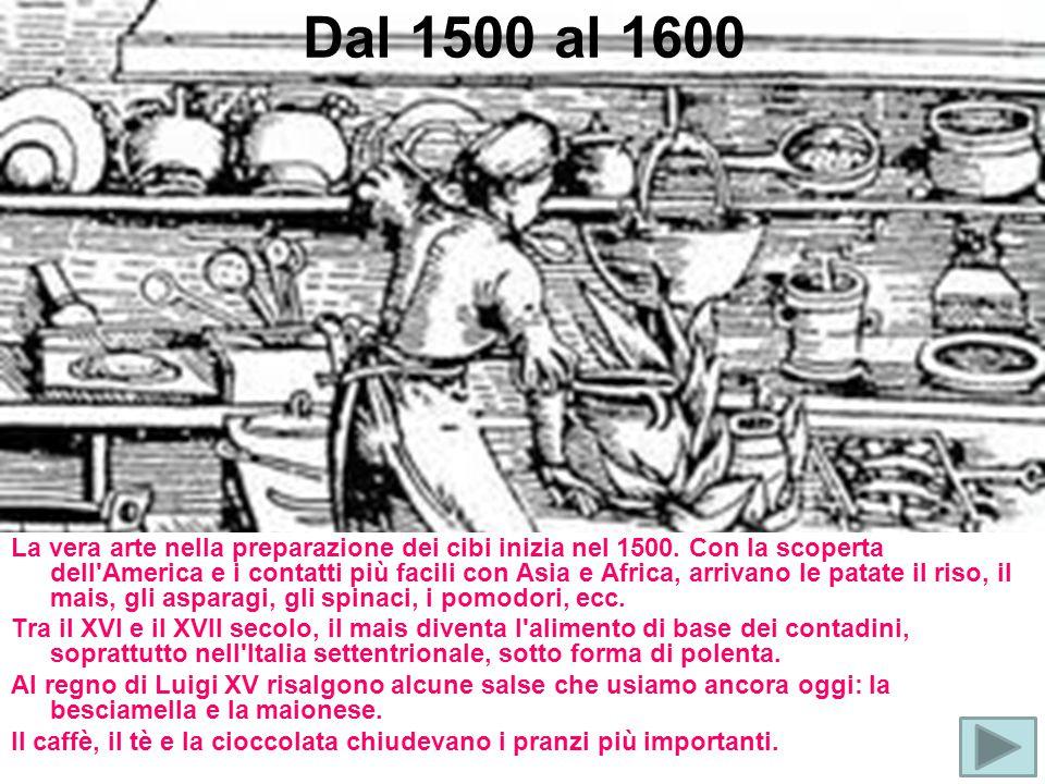 Dal 1500 al 1600 La vera arte nella preparazione dei cibi inizia nel 1500. Con la scoperta dell'America e i contatti più facili con Asia e Africa, arr